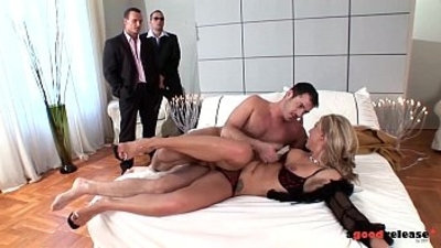 A Good Release Sexy busty Blonde bitchdevours cocks in triple penetration