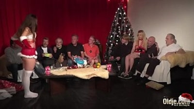 Old Young Orgy Old Men Teens hardcore Christmas group fuck special