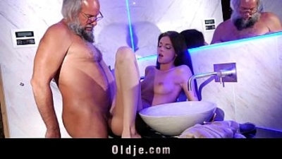Young horny therapist hard anal fucking beard old man into the bathroom