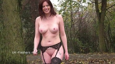 Redhead Holly Kiss flashing in public and outdoor masturbation of exhibiti
