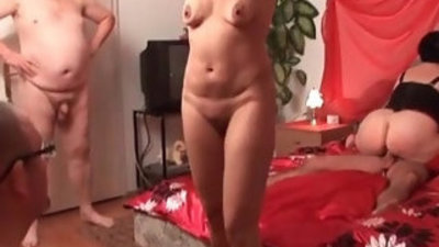 Dirty whore gets horny jerking a cock