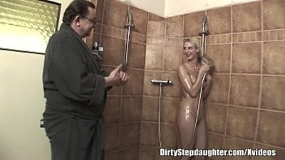 Lucky Dad Fucks Blonde Stepdaughter In The Shower