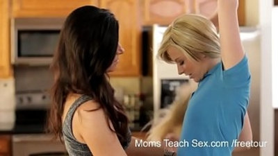 Hot Milfs trains young teen