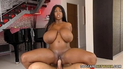 Busty ebony Rachel Raxxx loves white cock