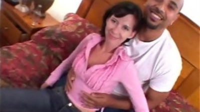 Sexy blonde milf gets alot of black huge white cock stuffing interracial video