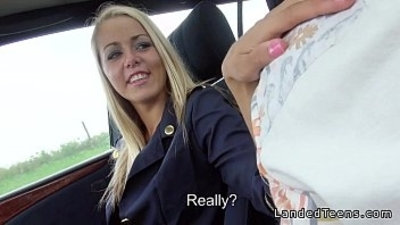 Blonde stewardess with nice legs gives blowjob in car