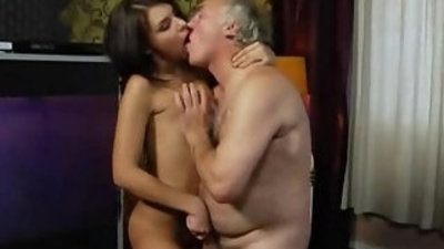 Incredible sweet granddaughter fucking pussy with her grandpa at home