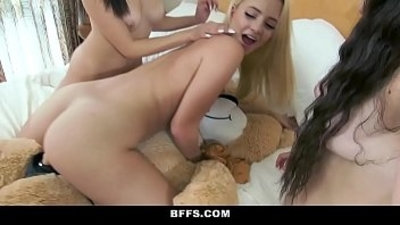 BFFS Hot Teens Hump Bear During Sleepover